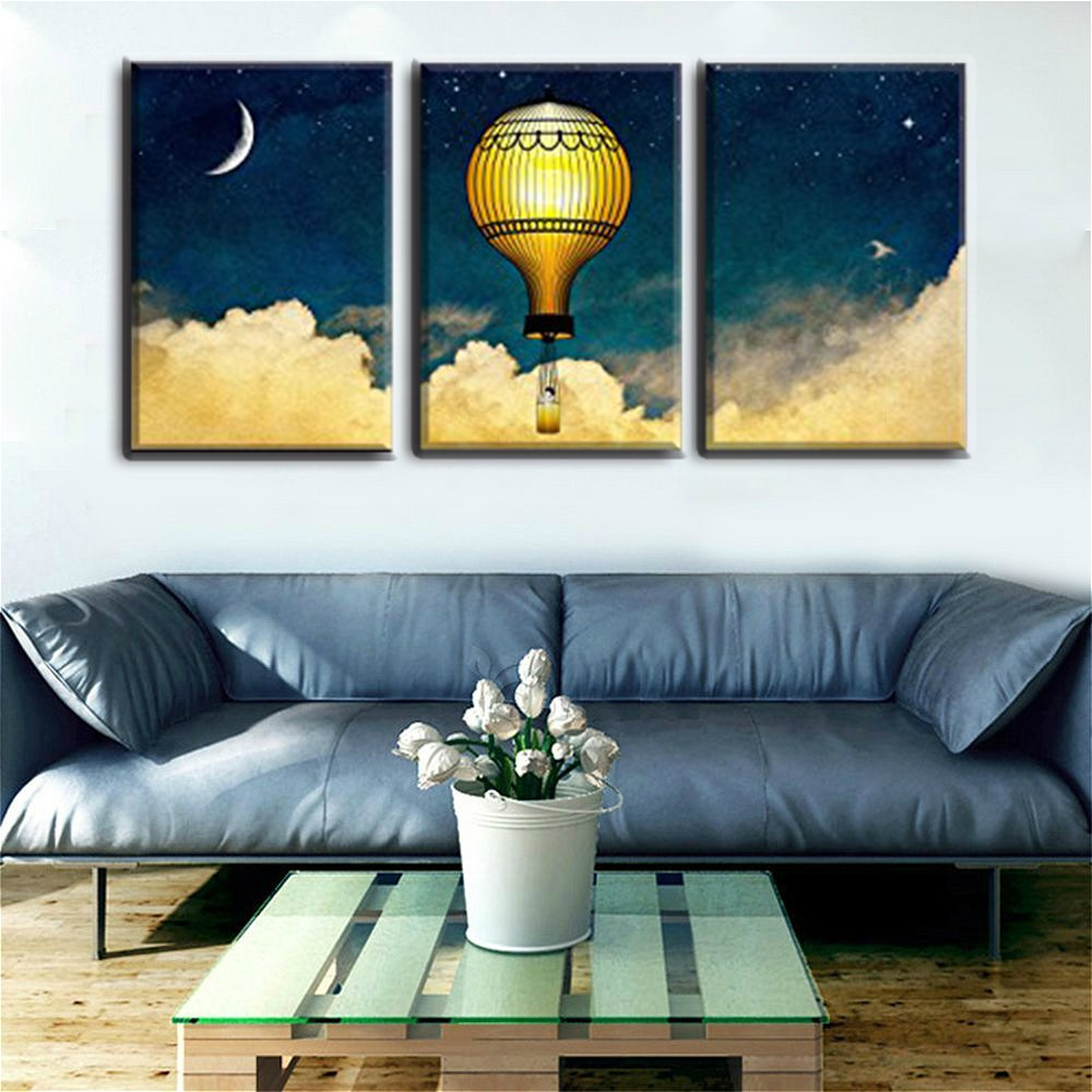 Baby Room Decor Wall Art Cartoon Painting Printed Hot Air Balloons in the Night Sky Artwork for Home Decoration Christmas Gift
