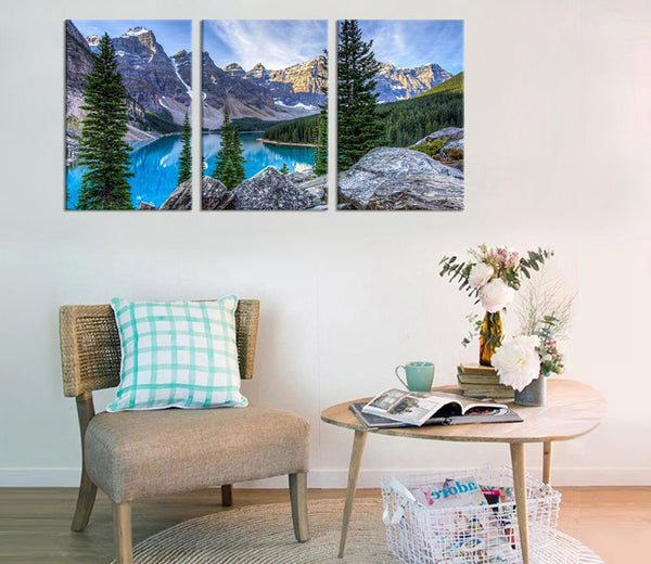 Canvas Wall Art Mountain and Lake Canvas Painting for Living Room Wall Decor Nature Picture Modern Home Decoration 3 Pieces Gift