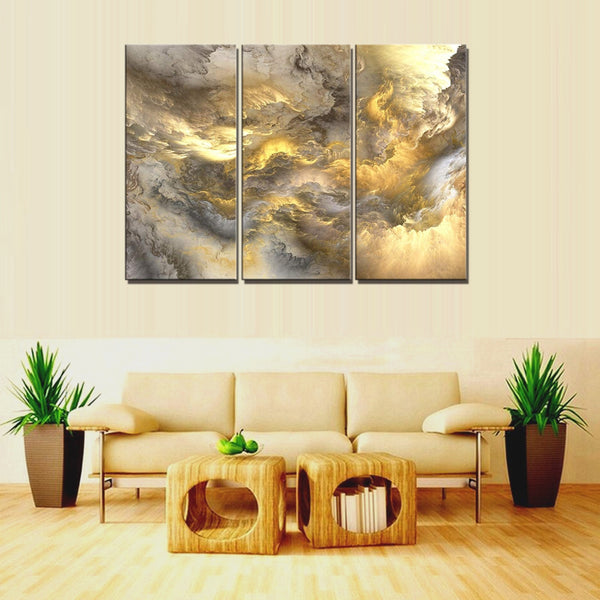 Psychedelic Art Space Cloud Golden Abstract Landscape Wall Art Canvas Painting for Home Decorations Poster Art Print Wall Decor