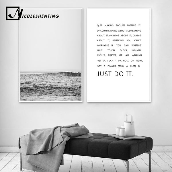 Sea Forest Motivational Quote Posters and Prints Nordic Style Painting Wall Art Canvas Picture for Living Room Modern Home Decor