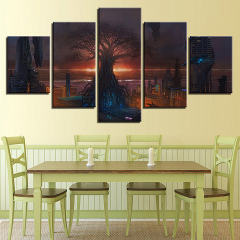 Canvas Poster Modular Pictures 5 Pieces Abstract Tree Building Landscape Paintings Wall Art Decoration Modern Prints Living Room