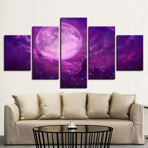 Wall Art Modular Canvas Picture Poster 5 Pieces Purple Sky Abstract Moon Night Scene Painting Modern Living Room HD Prints Decor