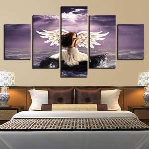 Printing Scenery Canvas Pictures Decor Modern Wall 5 Pieces Girl Angel Wings And Sea Water Painting Framework Modular Poster Art