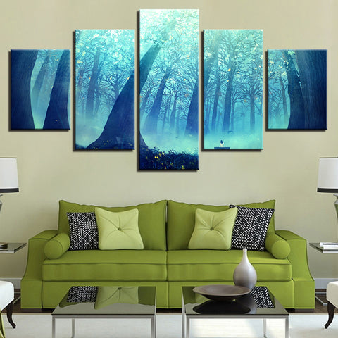 Poster Modular Canvas Pictures 5 Pieces Forest Landscape Paintings Decoration Home Living Room Wall Art Modern Prints Framework
