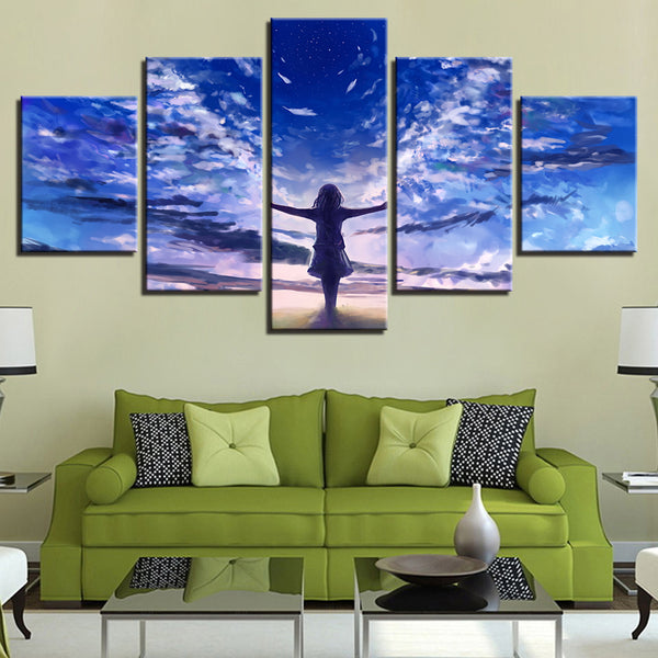Art Framed Modular Canvas Pictures 5 Pieces Little Girl Angel Blue Sky White Cloud Landscape Paintings Room HD Prints Wall Decor