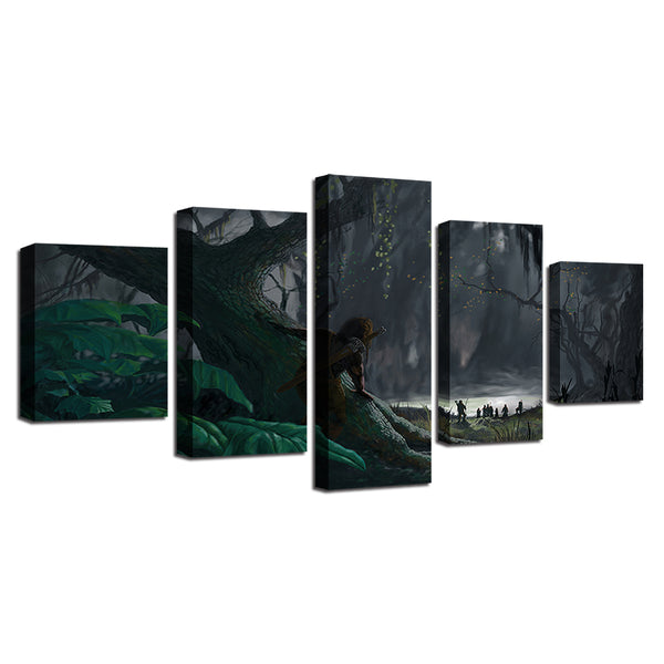 HD Prints Decoration Living Room Wall 5 Pieces Trees And Cave Landscape Canvas Paintings Modular Framework Posters Art Pictures