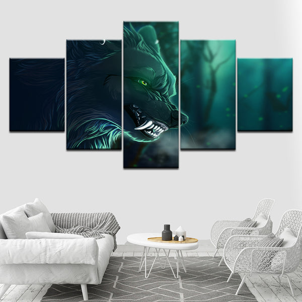Canvas Paintings Living Room Home Decor 5 Pieces Angry Night Wolf Fangs Posters HD Prints Anime Pictures Modular Wall Art Frame