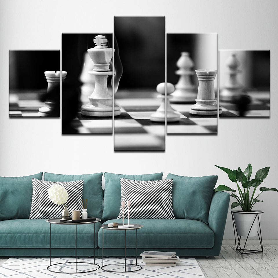 Canvas Pictures For Living Room Decor 5 Pieces Black And White Chess Paintings HD Prints Game Posters Modular Wall Art Framework