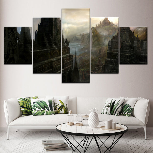 Canvas Painting Home Wall Art Prints Frame 5 Pieces Game Landscape Pictures Magic Fantasy World Poster Modular Living Room Decor