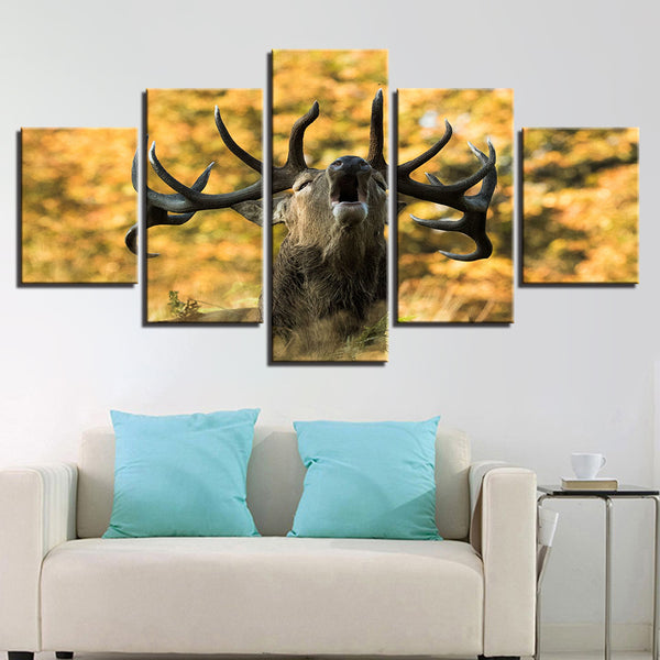 Modular Poster Framework HD Printed Pictures Living Room 5 Panel Deer Forest Animal Painting Wall Art Modern Canvas Home Decor