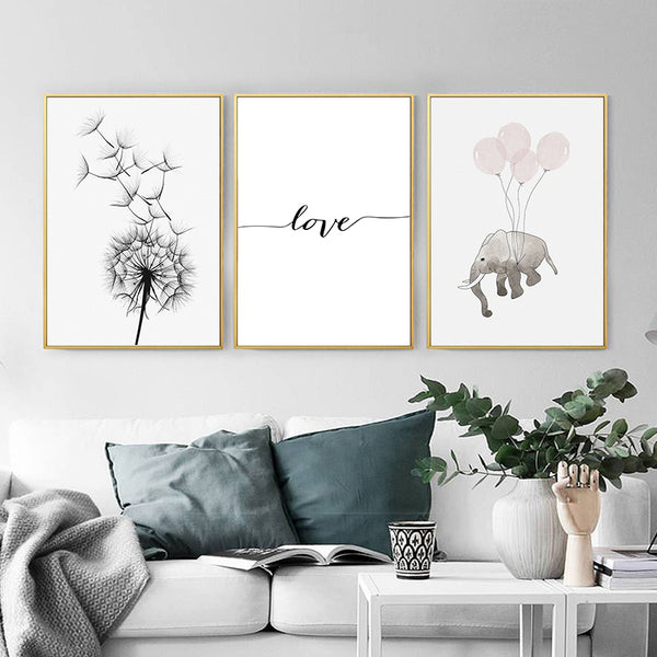 Small Clean Cute Cartoon Elephant Balloon Dandelion Simple Nordic Canvas Painting Poster Home Picture Wall Decoration