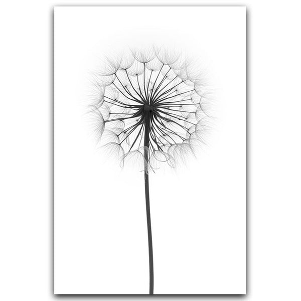 Black and White Dandelion Feathers Poster and Print Letter Love Wall Art Canvas Painting Home Picture Wall Decoration
