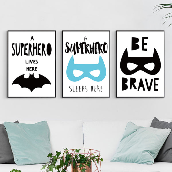 Black and White Children Inspirational Batman Canvas Painting Art Print Poster Picture Wall Children's Room Nordic Home Decor
