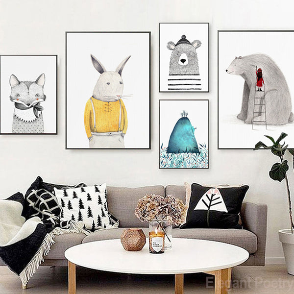 Nordic Simple Lovely Little Animal Cartoon Abstract Poster Wall Art Canvas Painting Home Picture Wall Decoration