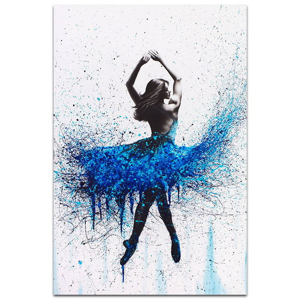 Nordic Fashion Beautiful Abstract Painting Blue Splatter Ballerina Girl Poster Wall Canvas Artist Home Decorative Painting