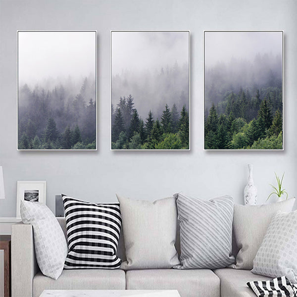 3PCS Nordic Forest Landscape Poster Wall Art Canvas Poster and Print Canvas Painting Decorative Picture for Home Decor