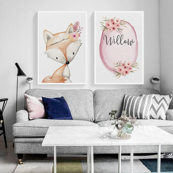 Nordic Modern Minimalist Flowers Cute Fox White Rabbit Cartoon Animal Canvas Painting Art Print Poster Picture Wall Home Decor