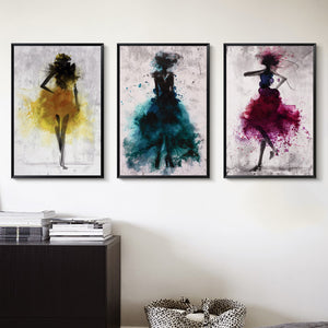 Elegant Poetry Dancing Skirt Girl Watercolor Abstract Canvas Painting Art Print Poster Picture Decoration Modern Home Decoration