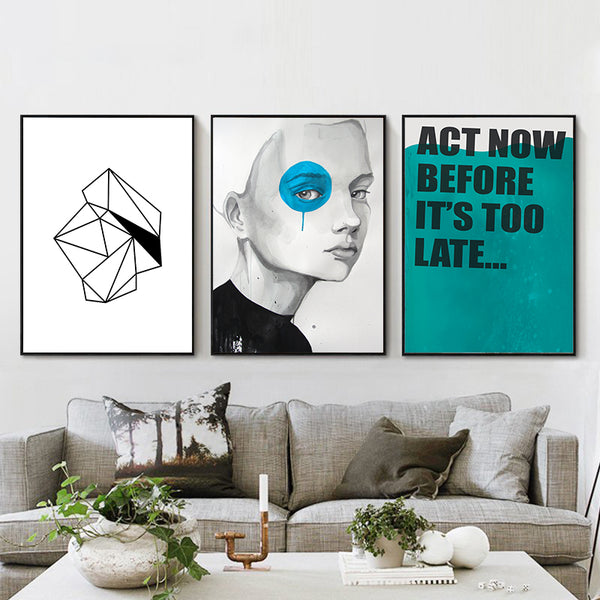 Elegant Poetry Nordic Minimalist Blue-eyed Girl Geometric Phrase Abstract Canvas Painting Art Print Poster Wall Paintings Decor