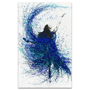 Modern Minimalist Blue Fashion Splash Beautiful Ballet Girl Canvas Painting Art Print Poster Wall Picture for Home Decoration