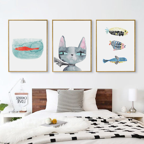 Elegant Poetry Nordic Simple Watercolor Animals Cartoon Cat and Fish Canvas Painting Art Print Poster Picture Bedroom Wall Decor