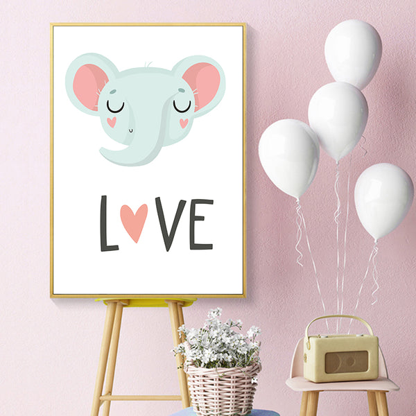 Nordic Modern Minimalist Kawaii Cartoon Animal Canvas Painting Art Print Poster Picture Wall Living Room Bedroom Home Decor