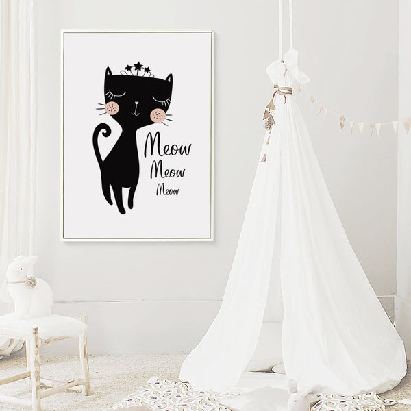 Elegant Poetry  Cute and Sweet Cat Cartoon Abstract Canvas Painting Art Print Poster Picture Mural Home Decoration, Wall Decor