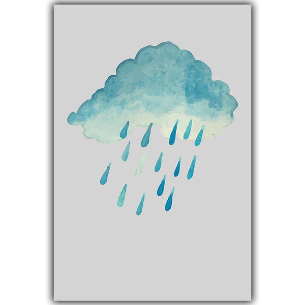Elegant Poetry Nordic Simple Abstract Art Girl Cactus Rain Cloud Canvas Painting Art Print Poster Picture Murals Home Decoration