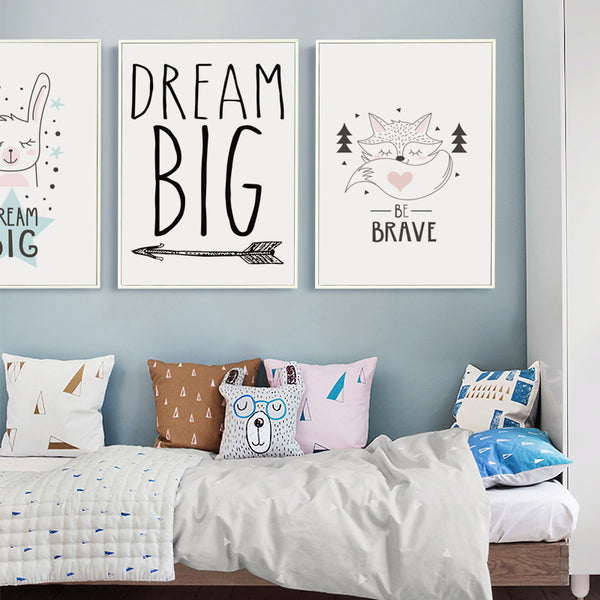 Elegant Poetry  Nordic Dream Cartoon Animals Canvas Painting Art Print Poster Picture Paintings Home Children's Bedroom Decorati