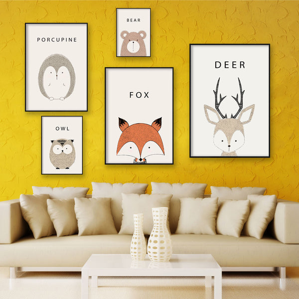 Elegant Poetry  Nordic Lovely Animal Cartoon Deer Head Bear Owl A4 Canvas Painting Art Print Poster Picture Wall Home Decor Wall