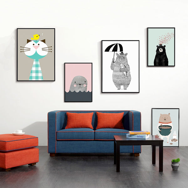 Nordic Modern Minimalist Pink Cute Cartoon Animal Children's Room Canvas Painting Art Print Poster Picture Wall Home Decor