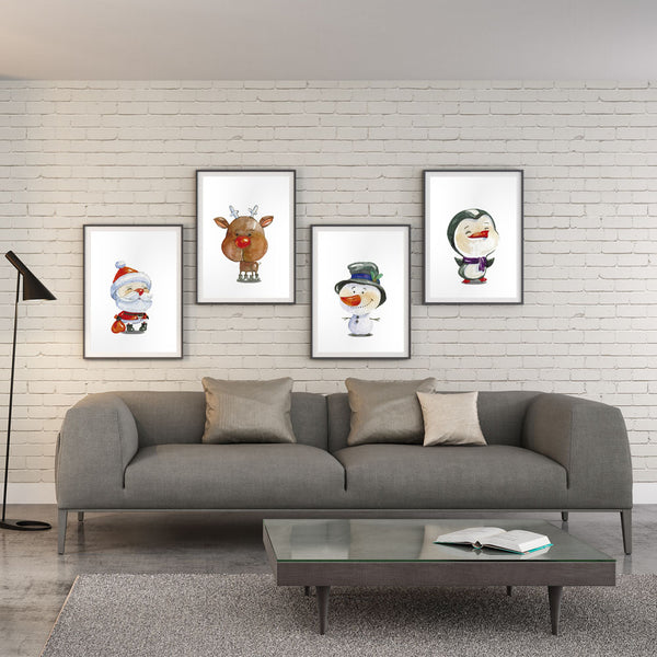 Elegant Poetry  Nordic Art Snowman Santa Claus Penguin Cartoon Canvas Painting Art Print Poster Wall Paintings Home Wall Decor