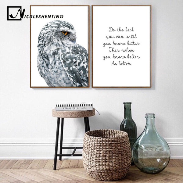 Nordic Style Owl Ocean Landscape Canvas Posters and Prints Wall Art Painting Scandinavian Decoration Pictures Modern Home Decor