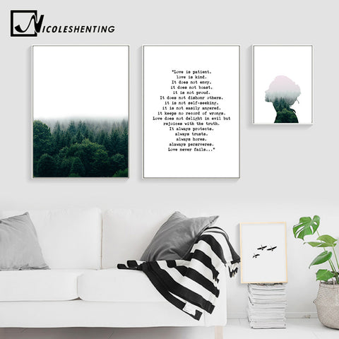 Scandinavian Wall Art Canvas Posters and Prints Forest Landscape Abstract Painting  Nordic Decoration Picture Modern Home Decor