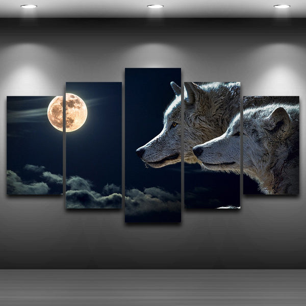Decoration Posters Frame Living Room HD Printed 5 Piece/Pcs Wolves Moon Modular Picture Wall Art Home Modern Painting On Canvas