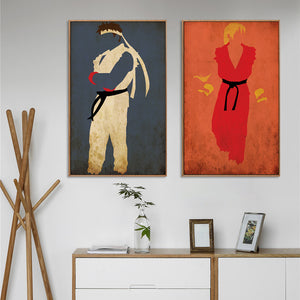 Elegant Poetry Modern Simple Retro Classic PK Game Street Fighter Canvas Painting Art Print Image Poster Children Home Decoratio