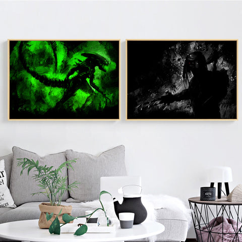 Elegant Poetry Modern Abstract Alien vs Predator Classic Movie Canvas Digital Painting Art Print Poster Picture Home Decoration