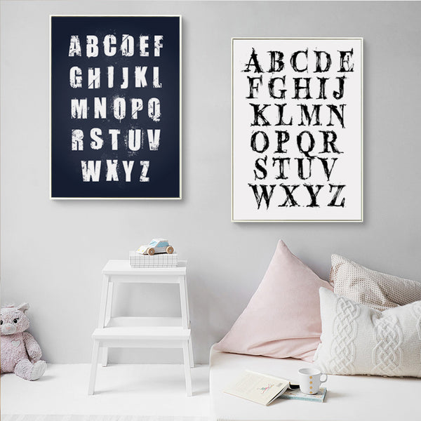 Elegant Poetry Modern Simple 26 Letters Black And White Canvas Painting Print Poster Picture Children Bedroom Home Decoration