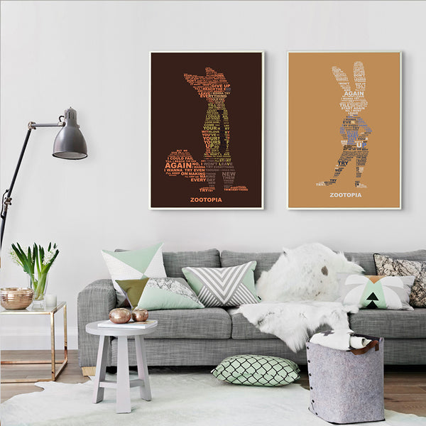 Cute Animals Utopia and Judy Fox Nick Wilde Movies Canvas Painting Art Print Poster Mural Children's Bedroom Decor