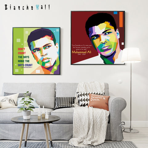 Elegant Poetry Muhammad Ali's Boxing Life Inspirational Portrait Canvas Painting Art Print Picture Poster Bedroom Home Decoratio