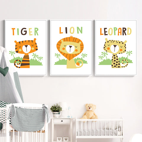 Elegant Poetry Simple And Lovely Animal Cartoon Leopard Tiger Lion Canvas Art Painting Print Poster Picture Wall Child Room Deco