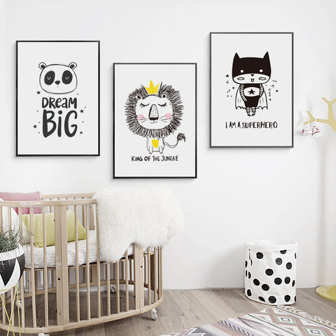 Elegant Poetry  Cute Children Cartoon Lion Superhero Canvas Painting Art Print Poster Picture Wall Painting Home Decoration