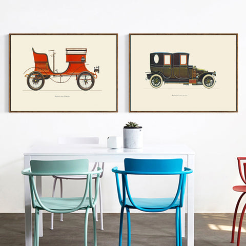 Elegant Poetry 1937's Vintage Car Minimalist A4 Canvas Painting Art Print Poster Picture Wall Modern Home Bedroom Wall Decoratio