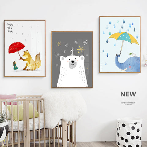 Elegant Poetry Girl With Bear Elephant Fox Rain Canvas Painting Art Typographic Poster Picture Wall Children Bedroom Decoration