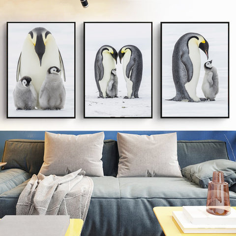 Elegant Poetry Warm Penguin Family A4 Canvas Painting Art Print Poster Picture Wall Paintings Home Wall Decoration