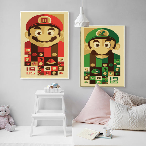 Elegant Poetry Nordic Color Game Mario Cartoon Character Canvas Painting Art Print Picture Poster Wall Children's Deco OT079