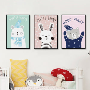 Elegant Poetry Cute Cartoon Animals and Phrases Canvas Art Print Poster Picture Mural Home Decoration Children Bedroom Decoratio