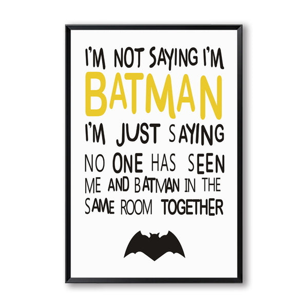 Elegant Poetry Batman Cartoon Pattern Kid Bedroom Decoration Canvas Painting Art Print Poster Wall Picture Home Decoration