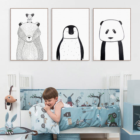 Elegant Poetry Simple Black And White Animal Bear And Penguin Canvas Painting Art Print Poster Picture Child Bedroom Home Decor