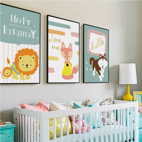 Elegant Poetry Cartoon Animals A4 Canvas Painting Art Print Posters Wall Picture for the Baby Children Bedroom Wall Decoration